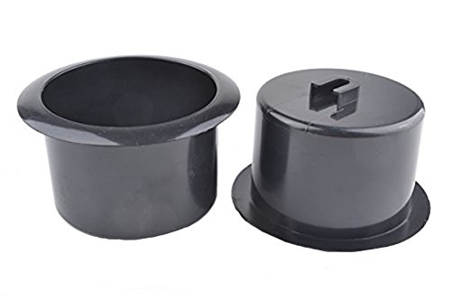 Black 64mm Height 2 Pcs Plastic Replacement Cup Holder Inser