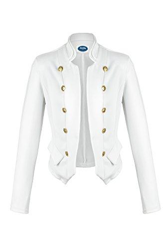 Blanc AO Veste 4tuality courte Militaire Blazer Style wqaxzxYRFg