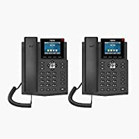 Fanvil X3SG IP Phone Gigabit with 4 SIP Lines and 2 Line Keys and Color Display 2.8-inch (2-Pack)