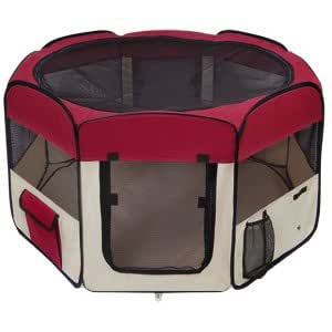 "Portable Maroon Large 45"" 45 Inch In Octagon Pet Playpen Dog Puppy Cat Exercise Training Pen Maroon Play Game Pen"