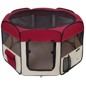 Portable Maroon Large 45u0026quot; 45 Inch In Octagon Pet Playpen Dog Puppy Cat  Exercise Training