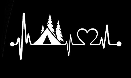 Camping Love Heartbeat Wanderlust Decal Vinyl Sticker|Cars T