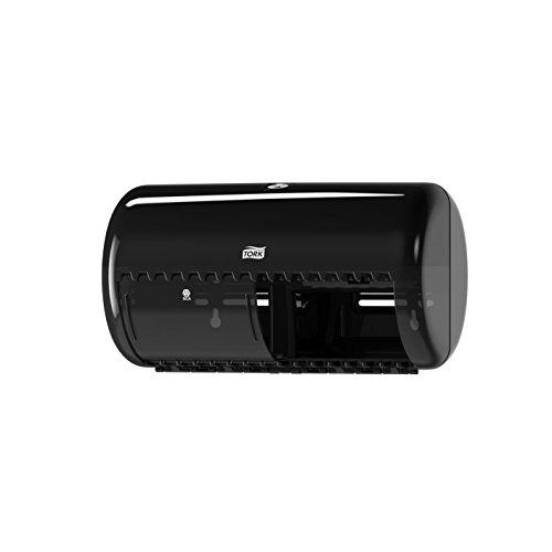 Tork 557008 Spender für Kleinrollen Toilettenpapier T4 in Schwarz / Hygienischer Papierspender für Toiletten im Elevation Design