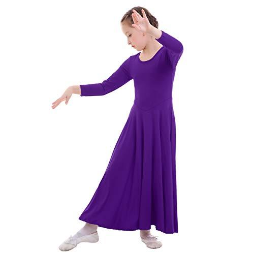 Girls Liturgical Praise Dress Church Loose Fit Full Length Long Sleeve Dance Dress Worship Christian Circle Costume Dancewear Praisewear Purple 3-4 Years