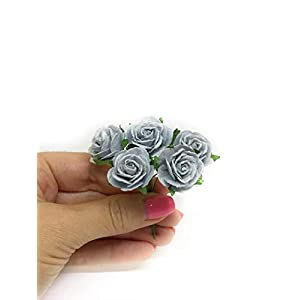 "1"" Blue Grey Paper Flowers Paper Rose Artificial Flowers Fake Flowers Artificial Roses Paper Craft Flowers Paper Rose Flower Mulberry Paper Flowers, 20 Pieces 3"
