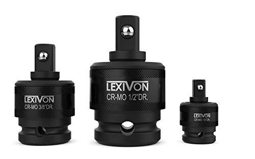 "LEXIVON Premium Impact Universal Joint Socket Swivel Set   3-Piece Ball Spring Design 1/2"", 3/8"", and 1/4"" U-Joint Drive   Cr-Mo Steel = Fully Impact Grade (LX-113)"