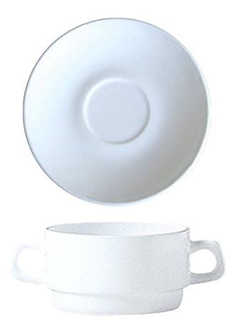 stapelbar 6 Suppentassen 32cl Restaurant Uni Weiß Opalglas