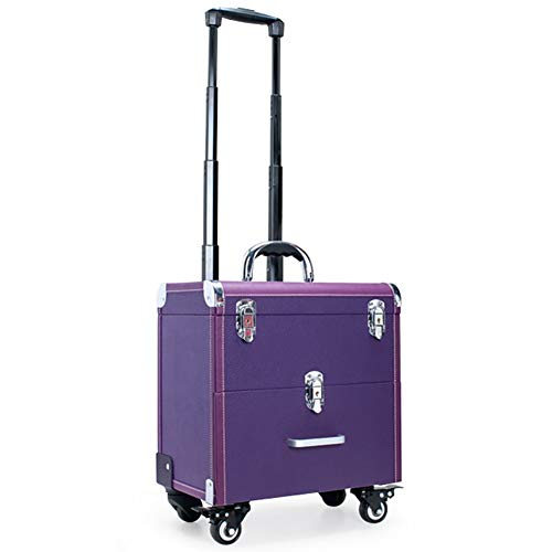 BECASE Makeup Train Case Trolley Cosmetic Rolling Organizer Suitcase with 4 ABS 360-degreed Wheels Drawer for Professional Artist Tattoo, Purple