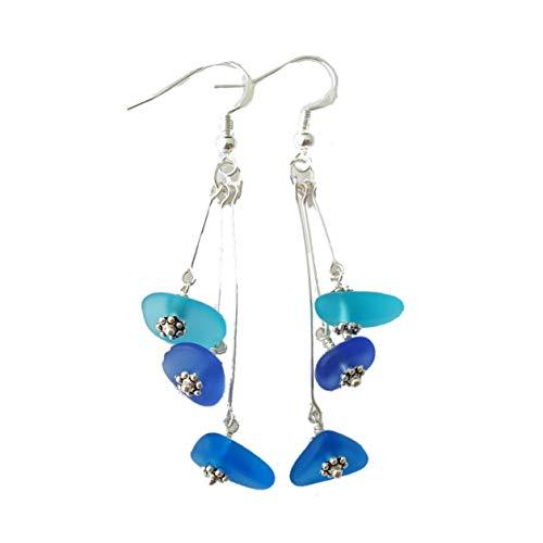 HandmadeThree Colors of the Hawaiian Ocean, sea glass earrings, sterling silver hooks, Hawaiian Gift, FREE gift wrap