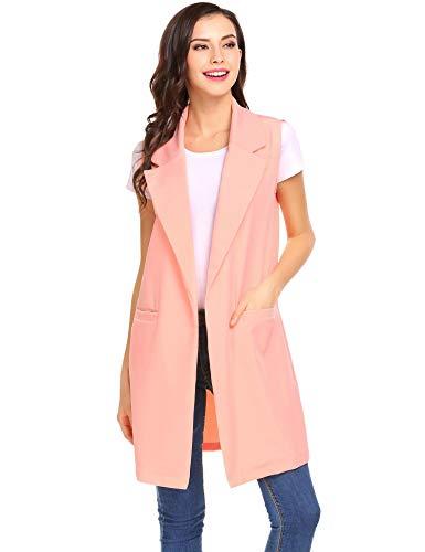 Vest Women's Jacket Gilet Pink Long Lapel Duster Blazer Open Sleeveless Meaneor Pocket wF68dqw