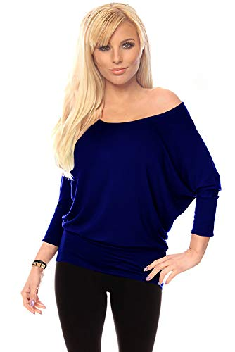 Womens Jersey Off the Shoulder Sweater Top Round Scoop Neck,Navy,3X