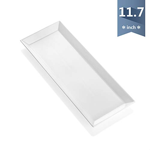 Sweese 701.000 White Rectangular Platter, Porcelain Serving Plate for Parties - 11.7 Inch