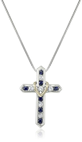 "Sterling Silver and 14k Yellow Gold Blue and White Sapphire ""Cross Your Heart"" Pendant Necklace, 18"""