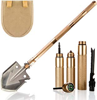 KP Solution Chico Group Folding Camping Survival Shovel, Entrenching Multi Tool, for Backpacking, Gardening (Gold)