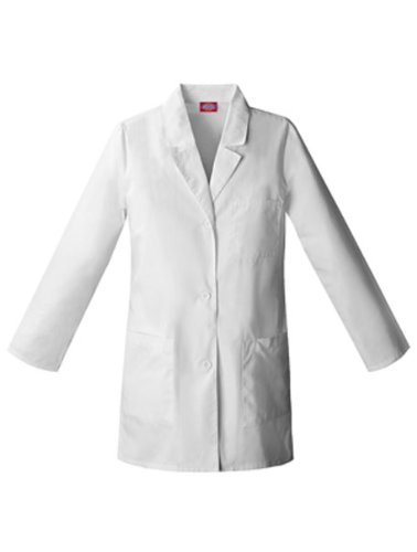 (Dickies 84400AB Women's 32-in Fluid Barrier Lab Coat White X-Small)