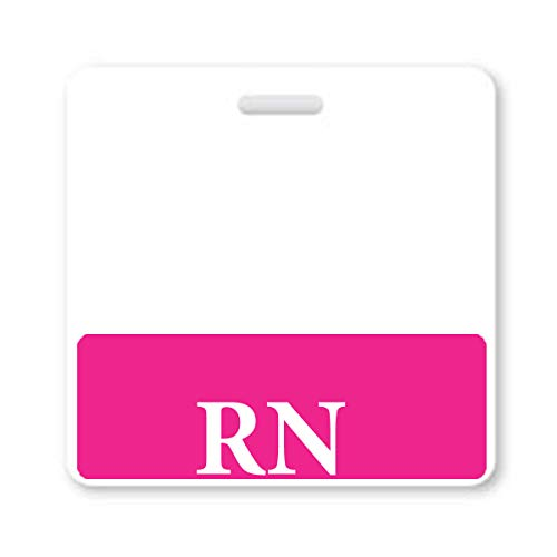 (Pink RN Badge Buddy - HORIZONTAL- Heavy Duty Spill Proof & Tear Resistant Cards - Double Sided- Quick Role Identifier ID Buddies for Registered Nurse - Printed in The USA)
