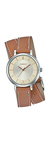 Casio LTP-E143DBL-5A Women's Double Loop Brown Leather Band Beige Dial Analog Watch