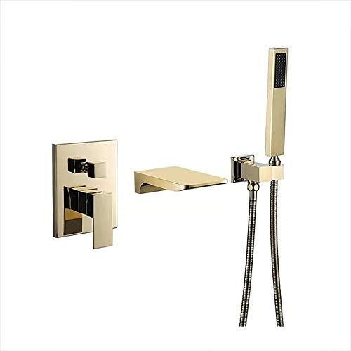 浴槽の蛇口真鍮の滝浴槽の蛇口シングルハンドルシャワーの蛇口セット、壁マウント浴室浴槽タップ,金