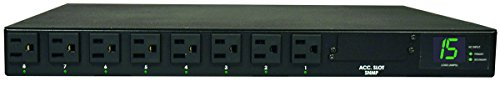 Tripp Lite Metered PDU with ATS, 15A, 8 Outlets (5-15R), 120V, 2 5-15P, 100-127V Input, 2 12 ft. Cords, 1U Rack-Mount Power, TAA (PDUMH15AT)