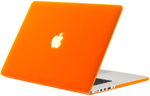 Kuzy Rubberized Hard Case for Older MacBook Pro 15.4 with Retina Display A1398 15-Inch Plastic Shell Cover - ORANGE
