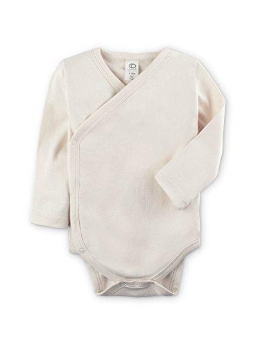Organic Cotton Kimono Onesie - Colored Organics Baby Organic Kimono Bodysuit Long Sleeve 12-18 Months Natural Ivory