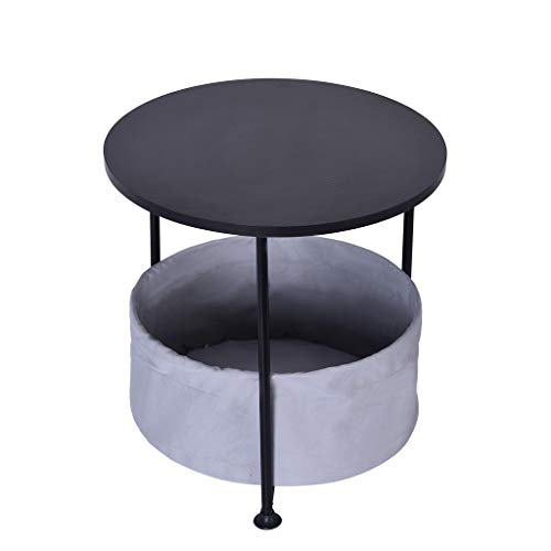 (Yetou End Tables Double/Three Layer Round Wood Side Table with Fabric Storage)
