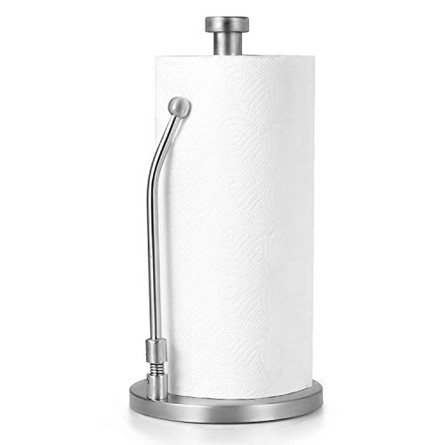 Paper Towel Holder, Stainless Steel Standing Simply Tear Roll / Contemporary Tissue Holder Countertop with Weighted Base for Tissue and Garbage Bags in Roll,Keeps Kitchens&Bathroom Tidy