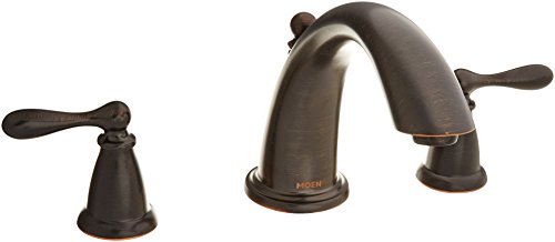 (Moen 86440BRB Caldwell Two Handle Deck Mounted Roman Tub Faucet Trim and Valve Included, Mediterranean Bronze )