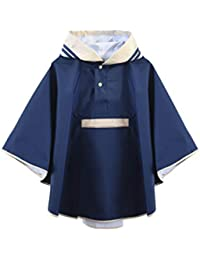 Hiheart Girls Waterproof Rain Poncho Hooded Packable Raincoat Navy M