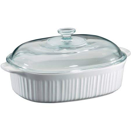 White French Bakeware Set - Corningware French White 4-Quart Oval Casserole with Glass Cover