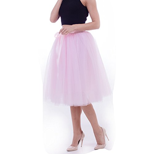 Women's High Waist Princess A Line Midi/ Knee Length Tulle Pleated Skirt for Prom Party-free -