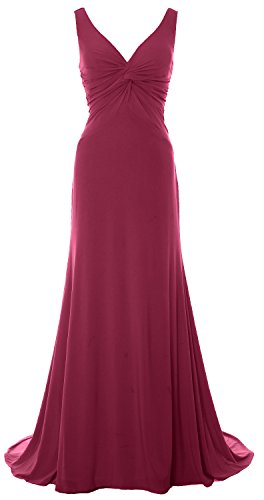 MACloth Women Mermaid V Neck Jersey Evening Gown Cowl Back (Clara Red Wine)