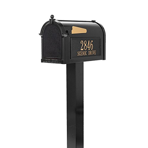 Whitehall Custom Premium Capitol Mailbox and Top Mount Post Package - Black Personalized in Goldtone (Mailbox Package Whitehall Premium)