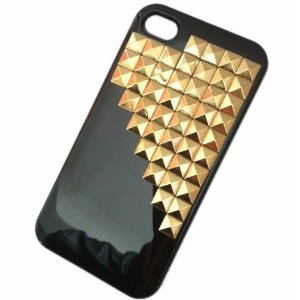 nk Style Pyramid Studded Cell phone Protective Case for iphone 5 Mobile Case Cover with Gold Studs and Spikes Decoration ()