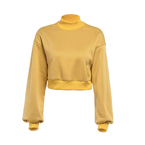 Femme Longues Chemise Pull pour Shirt Manches Capuche Longues Capuche Manches Jaune Femmes Chic Sweat Sweat Tops qU7ExwX