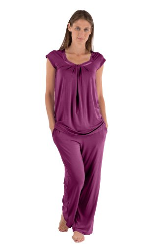 Texere Women's Bamboo Pajama Sleep Set (Bamboo Bliss, Concord Grape, Medium) Perfect Gifts for Mother Sister Daughter WB0001-CON-M