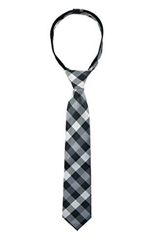 Spring Notion Boys' Pre-tied Woven Zipper Tie X-Large Checkered Black -