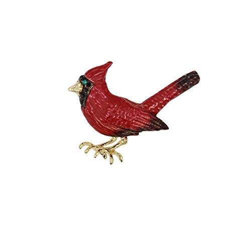 (Mundus Collection 1.3-inch H Enamel Painted Red Cardinal with Rhinestone Accents Brooch Pin Gold)