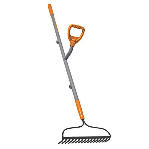 ERGIESHOVEL ERG-BWRK16 16-Tine Strain Reducing 54-Inch Steel Shaft Bow Rake, Gray/Orange (Rake Garden Bow)