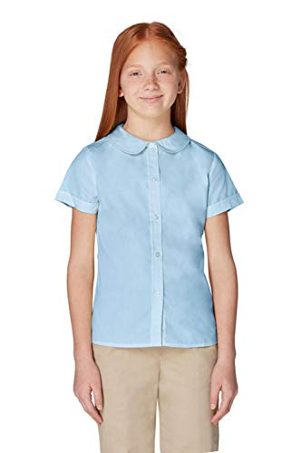 French Toast Big Girls' Short Sleeve Peter Pan Collar Blouse, Light Blue, 20