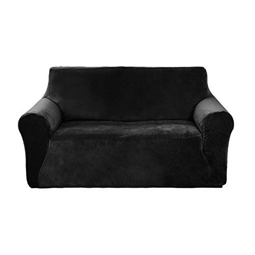 (Deconovo Modern Velvet Plush Strapless Couch Slipcover Stylish Furniture Protector Solid Color Stretch Sofa Cover for Loveseat Black)