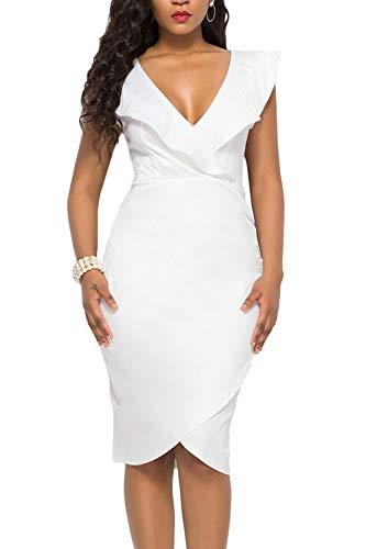 (WIWIQS Women's Sexy V Neck Bodycon Sleeveless Ruffle Dress Front Slit Bandage Midi Club)