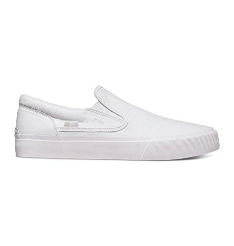 DC Men's Trase Slip-On TX Skate Shoe, White/White, 14 M US