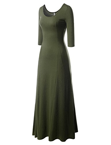 NEARKIN (NKNKW5LD652) Beloved Womens Scoop Neck Slim Cut Stretchy Maxi Dress Khaki Green US XXS(Tag size XS)