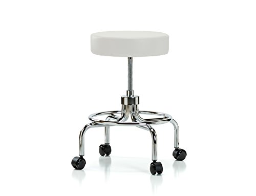 Perch Rolling Retro Exam Stool with Wheels for Carpet or Linoleum, Adobe White Vinyl Spin Lift Exam Stool