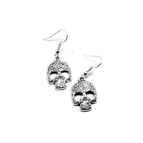 Silver Floral Sugar Skull Drop Earrings [Día de los Muertos]