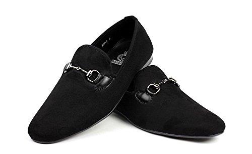 Jas Mens Nero Senza Cinghie Italiano Designer Slipper Ride Casual Scarpe Mocassino