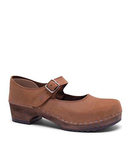 Dexter Leather Heels - Sandgrens Swedish Low Heel Wooden Clogs for Women with Leather Upper | Mary Jane Dexter Tan, EU 41