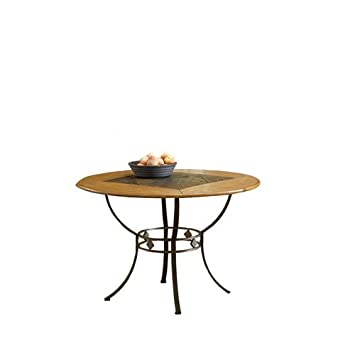 Amazoncom Lakeview Round Dining Table W Metal Legs And Slate - Metal round dining table