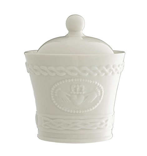 Belleek Pottery Claddagh Sugar/Condiment Bowl, White by Belleek Pottery
